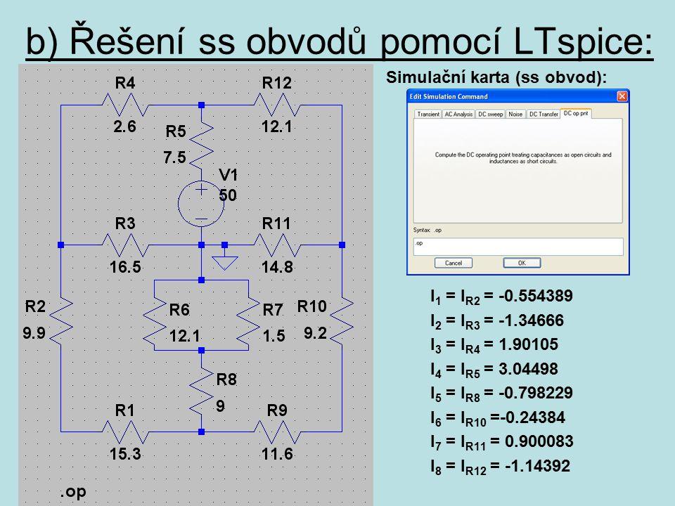 b) Řešení ss obvodů pomocí LTspice: Simulační karta (ss obvod): I 1 = I R2 = -0.554389 I 2 = I R3 = -1.34666 I 3 = I R4 = 1.90105 I 4 = I R5 = 3.04498