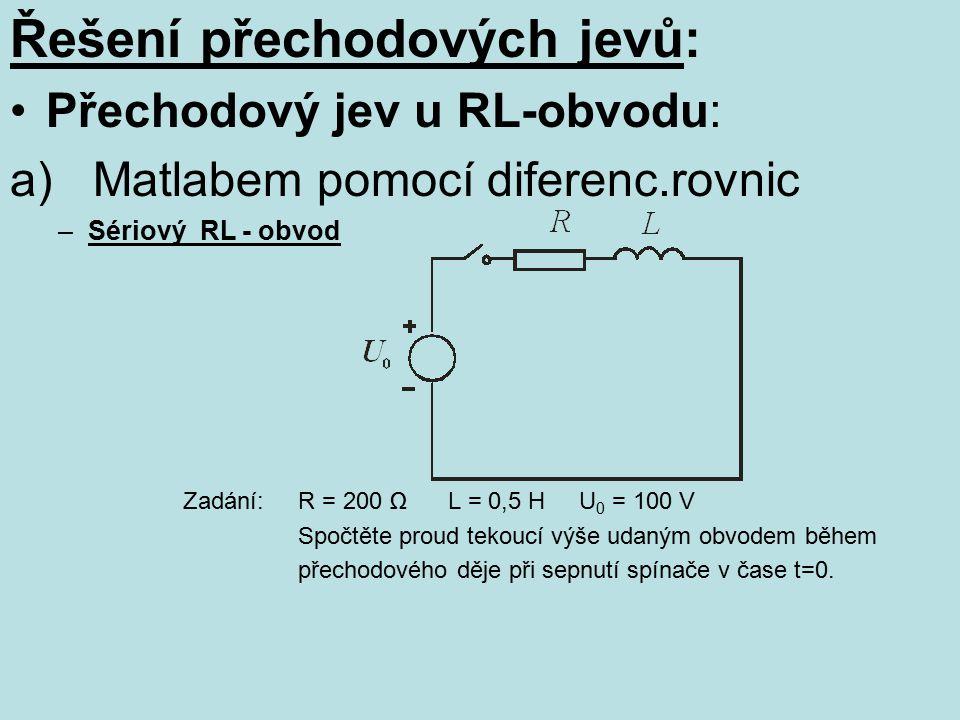 Řešení přechodových jevů: Přechodový jev u RL-obvodu: a) Matlabem pomocí diferenc.rovnic –Sériový RL - obvod Zadání: R = 200 Ω L = 0,5 H U 0 = 100 V S