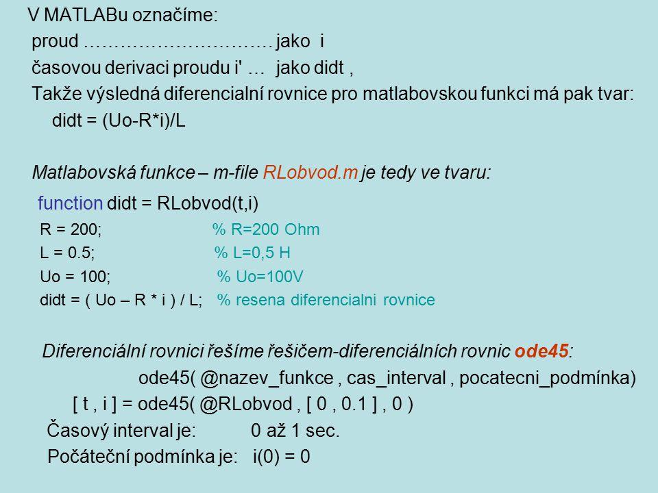 V MATLABu označíme: proud …………………………. jako i časovou derivaci proudu i' … jako didt, Takže výsledná diferencialní rovnice pro matlabovskou funkci má p