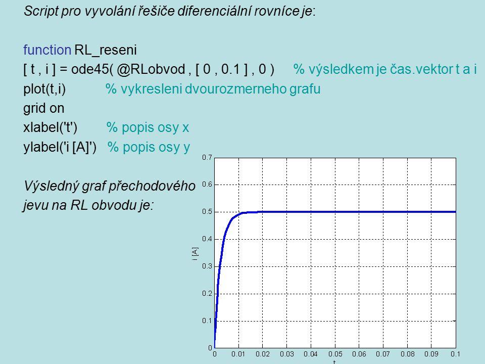 Script pro vyvolání řešiče diferenciální rovníce je: function RL_reseni [ t, i ] = ode45( @RLobvod, [ 0, 0.1 ], 0 ) % výsledkem je čas.vektor t a i pl