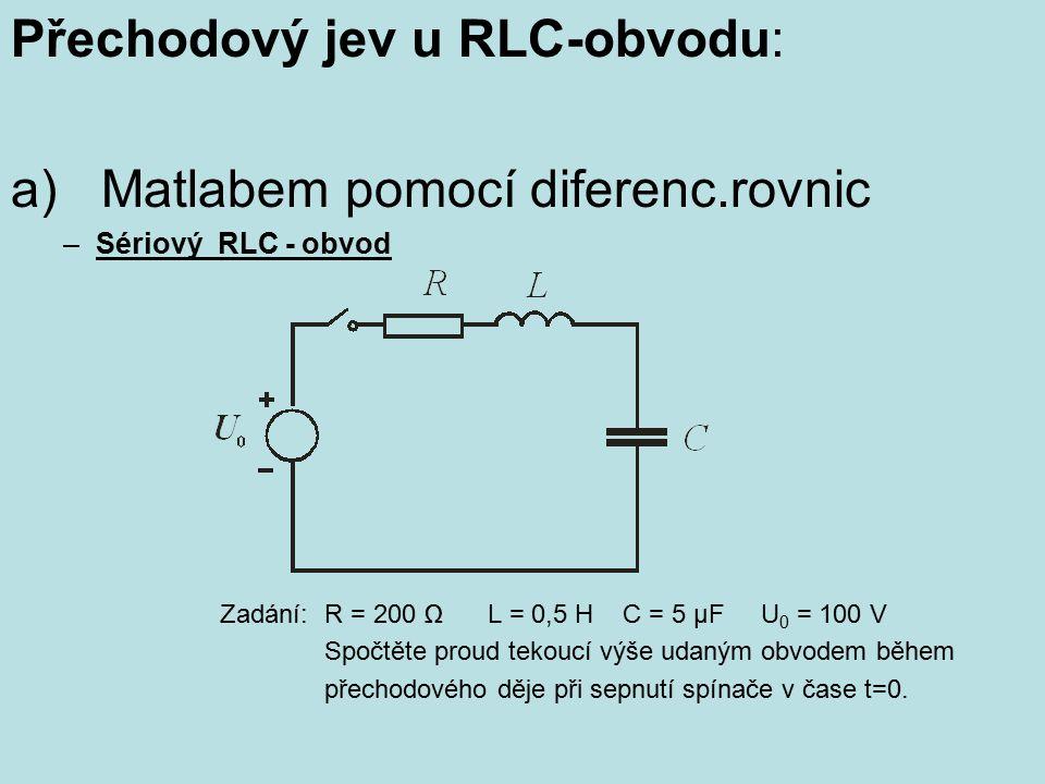 Přechodový jev u RLC-obvodu: a) Matlabem pomocí diferenc.rovnic –Sériový RLC - obvod Zadání: R = 200 Ω L = 0,5 H C = 5 μF U 0 = 100 V Spočtěte proud t