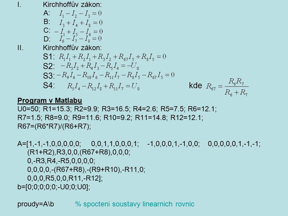 I.Kirchhoffův zákon: A: B: C: D: II.Kirchhoffův zákon: S1: S2: S3: S4: kde Program v Matlabu U0=50; R1=15.3; R2=9.9; R3=16.5; R4=2.6; R5=7.5; R6=12.1;