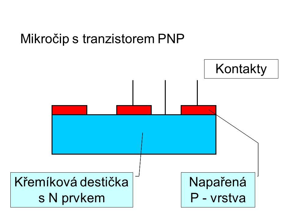 Mikročip s tranzistorem PNP Křemíková destička s N prvkem Napařená P - vrstva Kontakty Křemíková destička s N prvkem Napařená P - vrstva Křemíková destička s N prvkem Napařená P - vrstva