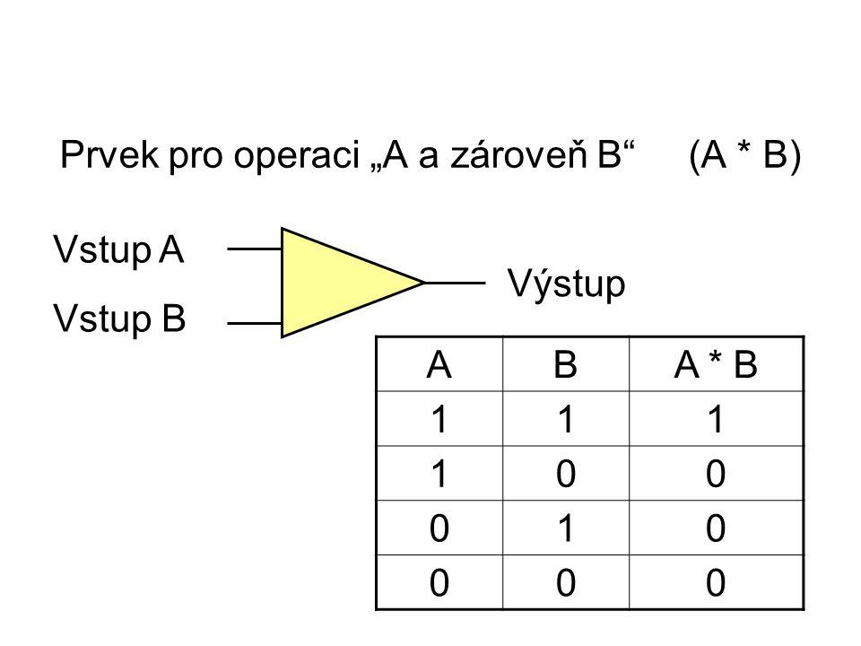 """Prvek pro operaci """"A a zároveň B (A * B) Vstup A Vstup B Výstup ABA * B 111 100 010 000"""