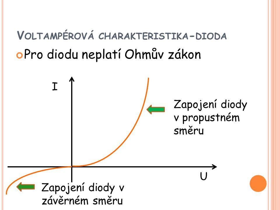 V OLTAMPÉROVÁ CHARAKTERISTIKA - DIODA Pro diodu neplatí Ohmův zákon I U Zapojení diody v propustném směru Zapojení diody v závěrném směru