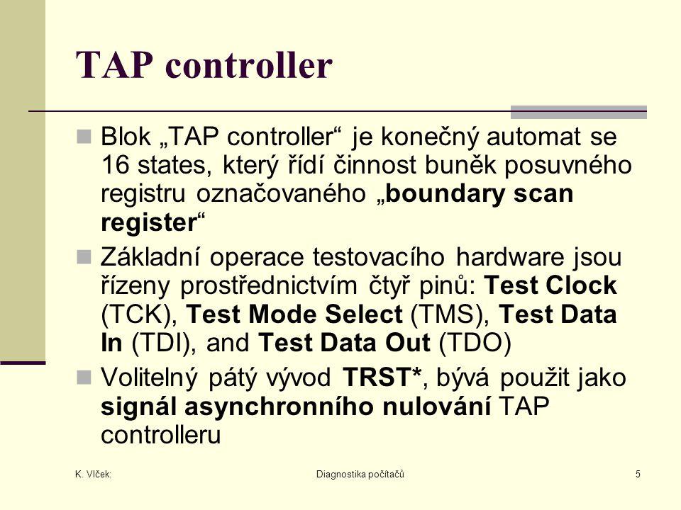 """K. Vlček: Diagnostika počítačů5 TAP controller Blok """"TAP controller"""" je konečný automat se 16 states, který řídí činnost buněk posuvného registru ozna"""