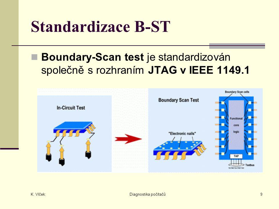 K. Vlček: Diagnostika počítačů9 Standardizace B-ST Boundary-Scan test je standardizován společně s rozhraním JTAG v IEEE 1149.1