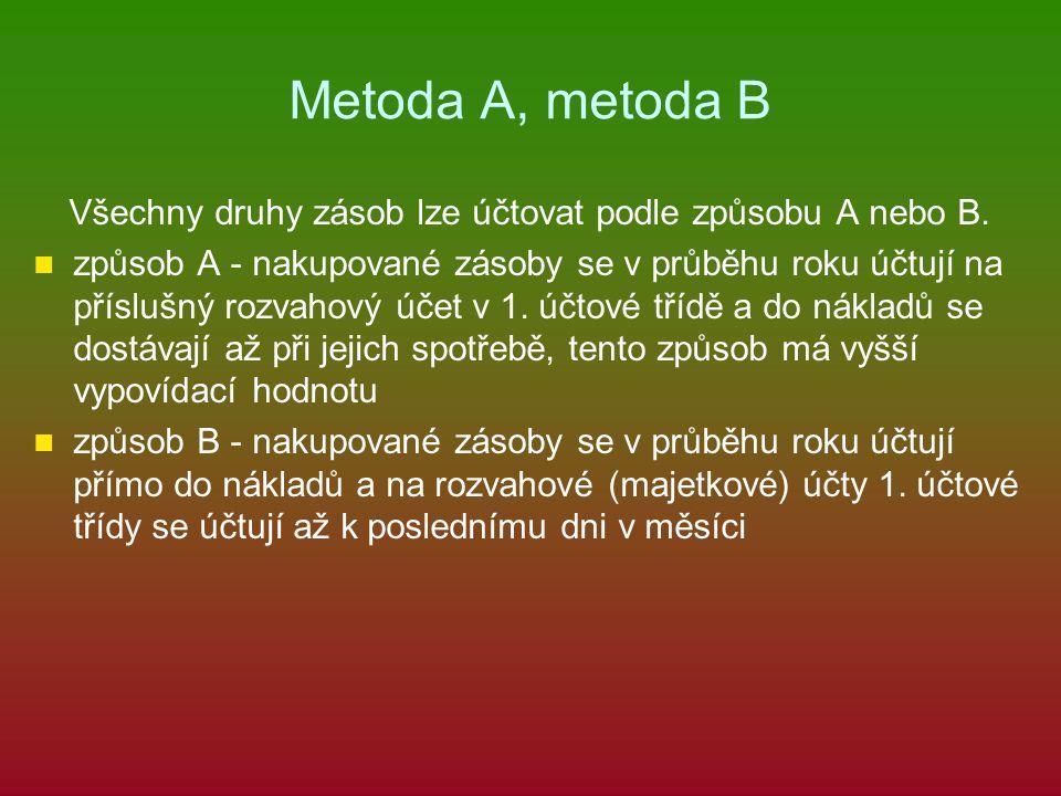 Metoda A, metoda B Všechny druhy zásob lze účtovat podle způsobu A nebo B.