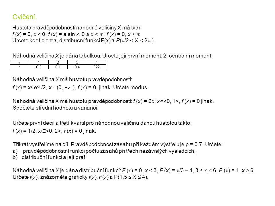 Hustota pravděpodobnosti náhodné veličiny X má tvar: f (x) = 0, x < 0; f (x) = a sin x, 0 ≤ x <  ; f (x) = 0, x  . Určete koeficient a, distribučn