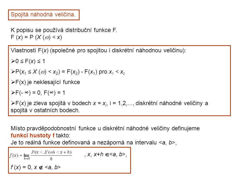 Spojitá náhodná veličina. K popisu se používá distribuční funkce F. F (x) = P (X (  ) < x) Vlastnosti F(x) (společné pro spojitou i diskrétní náhodno