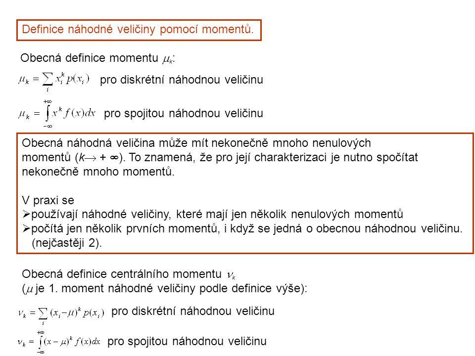 Definice náhodné veličiny pomocí momentů. Obecná náhodná veličina může mít nekonečně mnoho nenulových momentů (k  +  ). To znamená, že pro její char