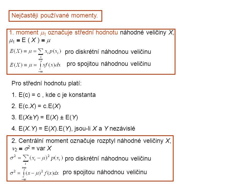 Nejčastěji používané momenty. 1. moment  1 označuje střední hodnotu náhodné veličiny X,  1  E ( X )   pro diskrétní náhodnou veličinu pro spojito