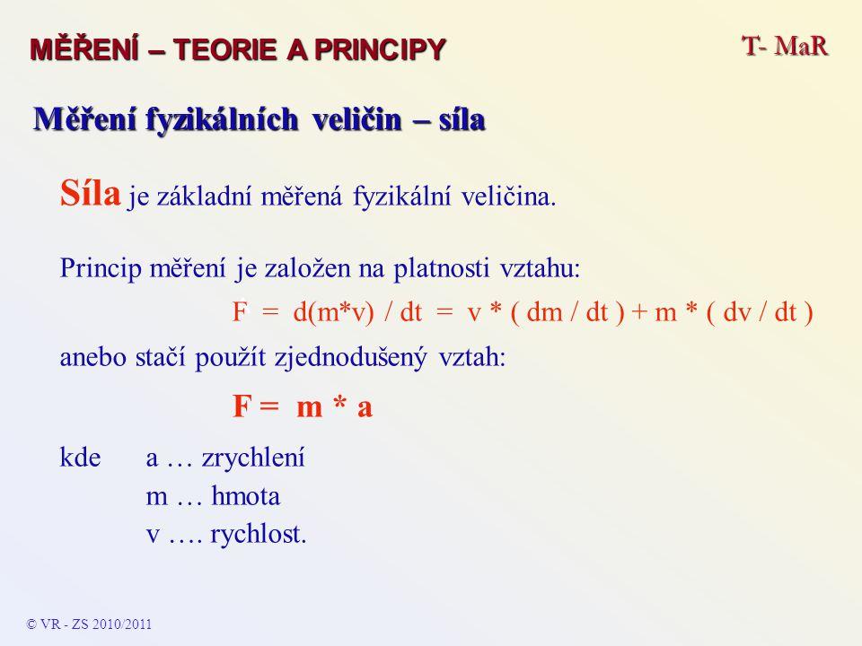T- MaR MĚŘENÍ – TEORIE A PRINCIPY © VR - ZS 2010/2011 A Měření fyzikálních veličin – síla Síla je základní měřená fyzikální veličina. Princip měření j
