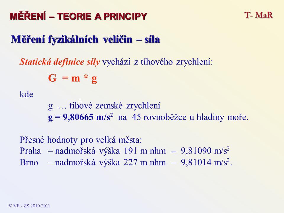 T- MaR MĚŘENÍ – TEORIE A PRINCIPY © VR - ZS 2010/2011 A Měření fyzikálních veličin – síla Statická definice síly vychází z tíhového zrychlení: G = m *