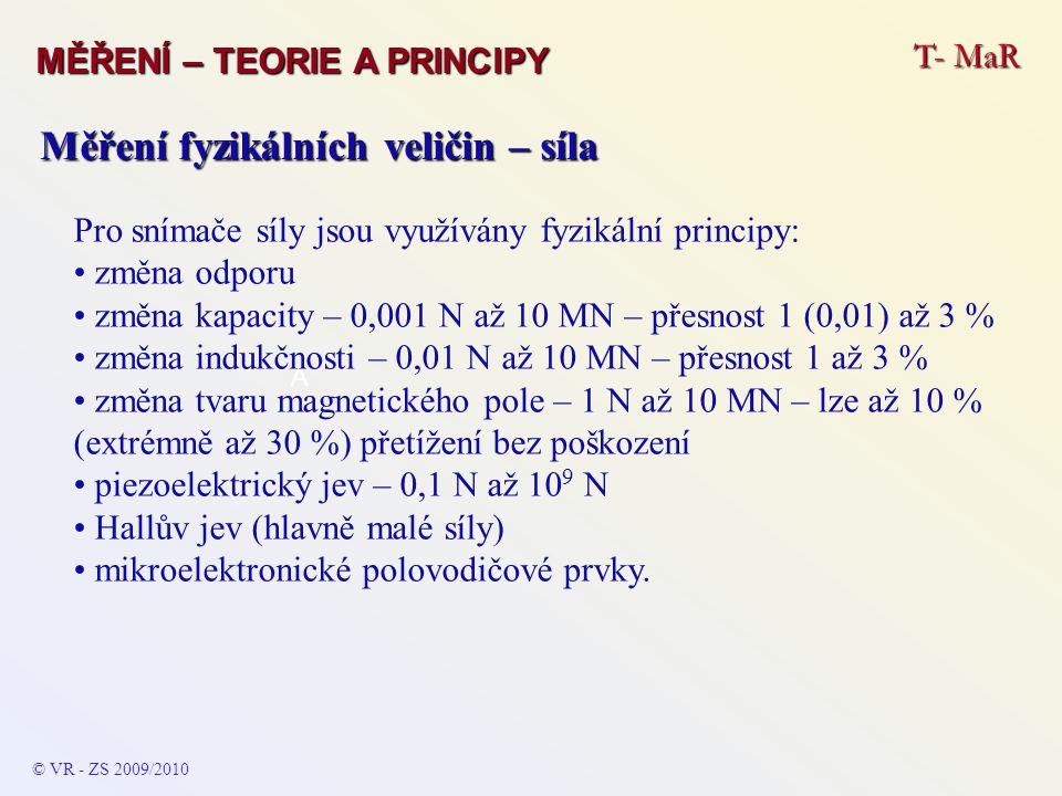 T- MaR MĚŘENÍ – TEORIE A PRINCIPY © VR - ZS 2009/2010 A Měření fyzikálních veličin – síla Pro snímače síly jsou využívány fyzikální principy: změna od