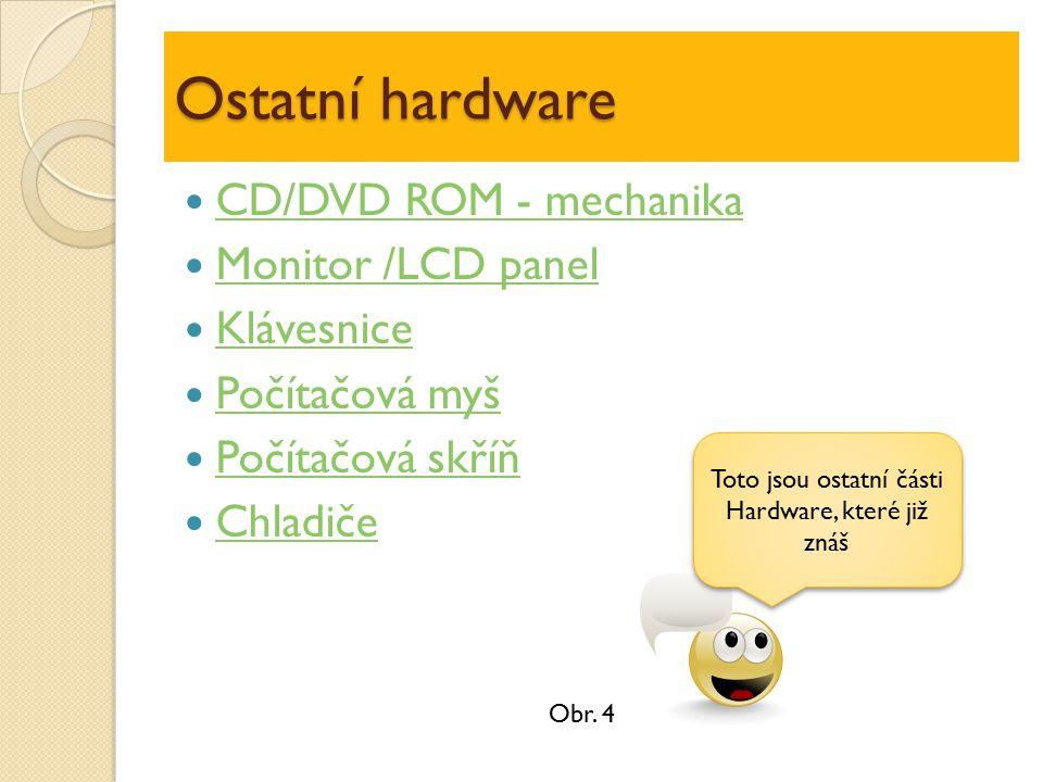 Ostatní hardware CD/DVD ROM - mechanika Monitor /LCD panel Klávesnice Počítačová myš Počítačová skříň Chladiče Toto jsou ostatní části Hardware, které