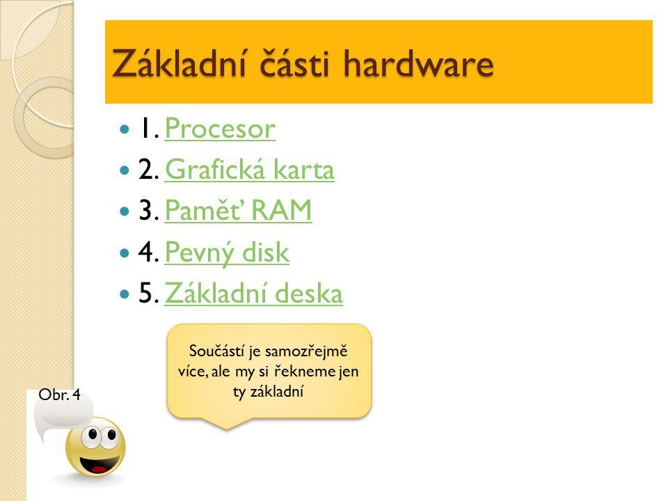 Základní části hardware 1. ProcesorProcesor 2. Grafická kartaGrafická karta 3. Paměť RAMPaměť RAM 4. Pevný diskPevný disk 5. Základní deskaZákladní de
