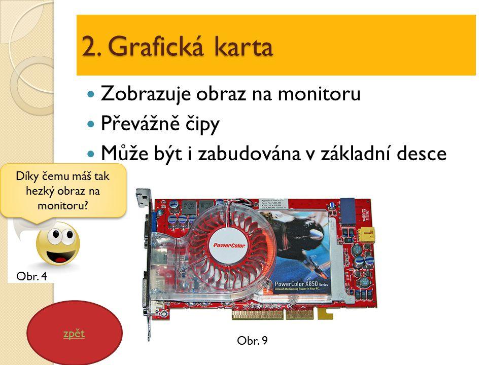 2. Grafická karta Zobrazuje obraz na monitoru Převážně čipy Může být i zabudována v základní desce zpět Díky čemu máš tak hezký obraz na monitoru? Obr