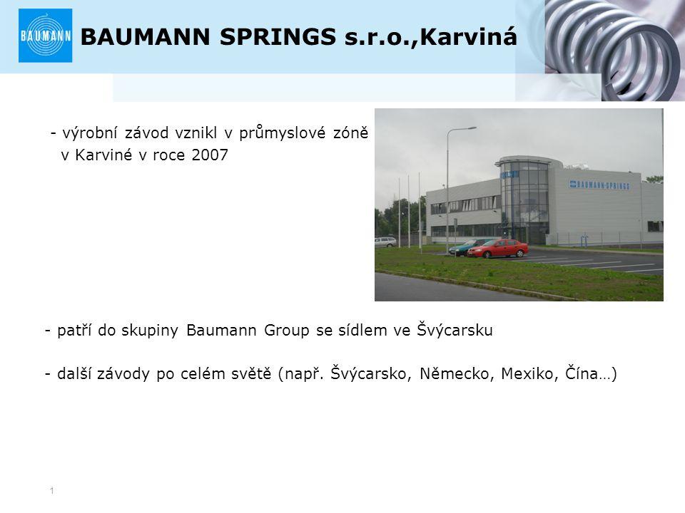 1 BAUMANN SPRINGS s.r.o.,Karviná - výrobní závod vznikl v průmyslové zóně v Karviné v roce 2007 - patří do skupiny Baumann Group se sídlem ve Švýcarsk