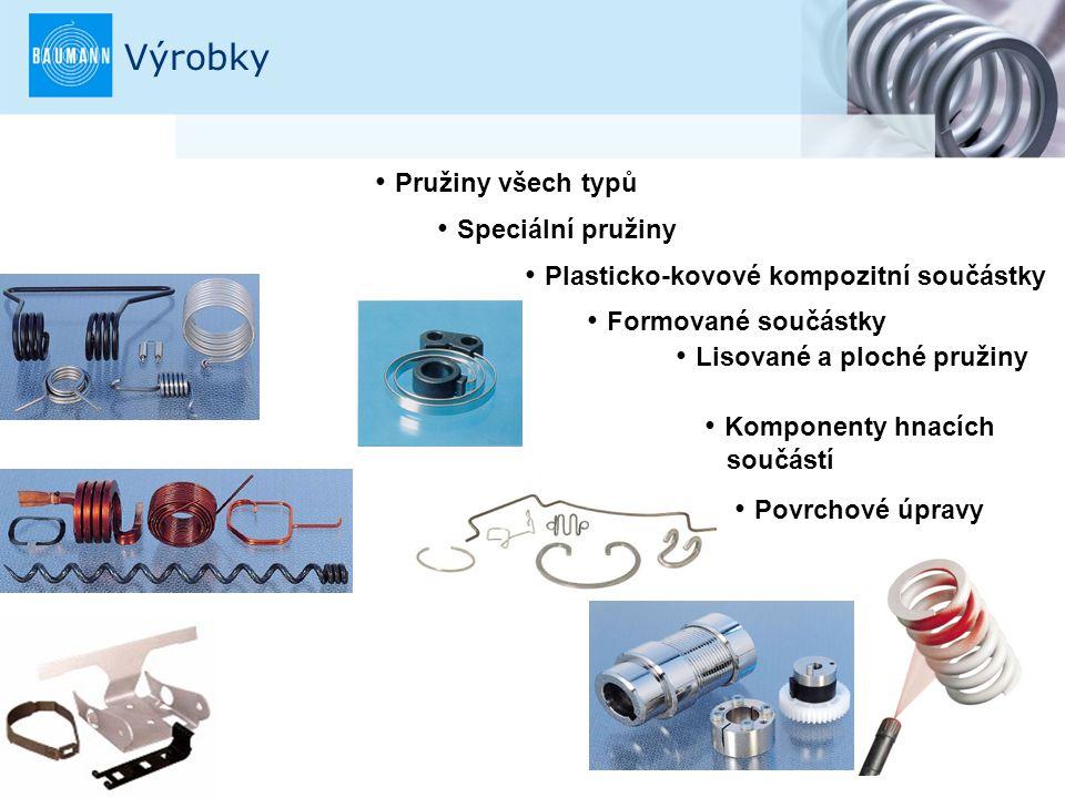 2 Výrobky Formované součástky Pružiny všech typů Speciální pružiny Plasticko-kovové kompozitní součástky Lisované a ploché pružiny Komponenty hnacích