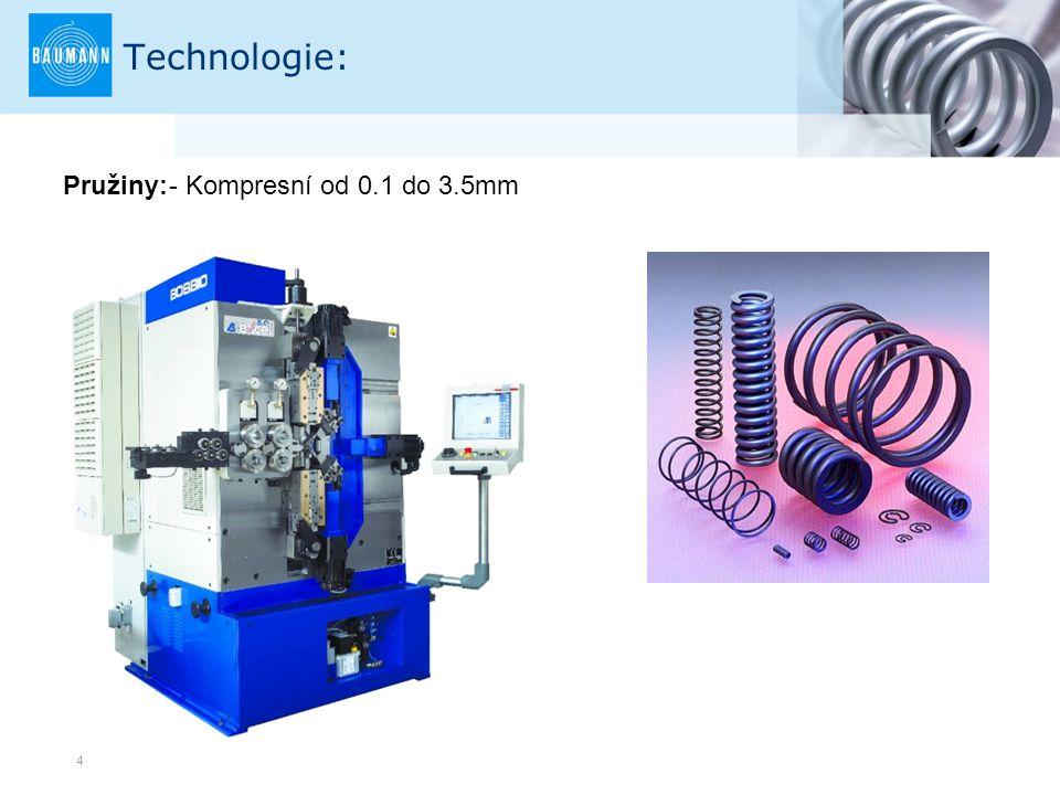 4 Technologie: Pružiny:- Kompresní od 0.1 do 3.5mm