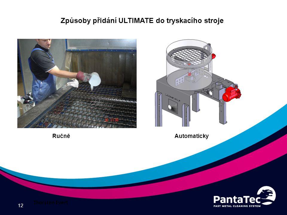 12 Způsoby přidání ULTIMATE do tryskacího stroje Ručně Automaticky Thorsten Evert