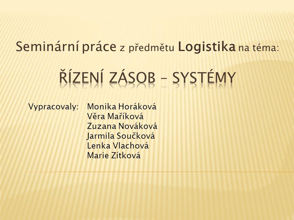 Seminární práce z předmětu Logistika na téma: Vypracovaly:Monika Horáková Věra Maříková Zuzana Nováková Jarmila Součková Lenka Vlachová Marie Zítková