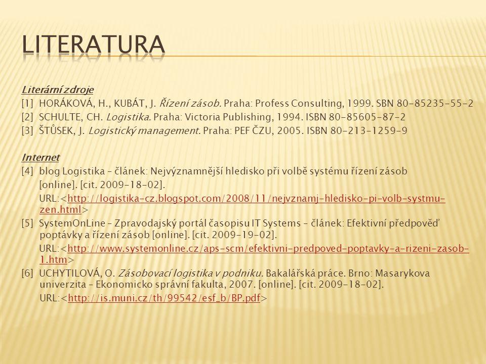 Literární zdroje [1] HORÁKOVÁ, H., KUBÁT, J. Řízení zásob. Praha: Profess Consulting, 1999. SBN 80-85235-55-2 [2] SCHULTE, CH. Logistika. Praha: Victo