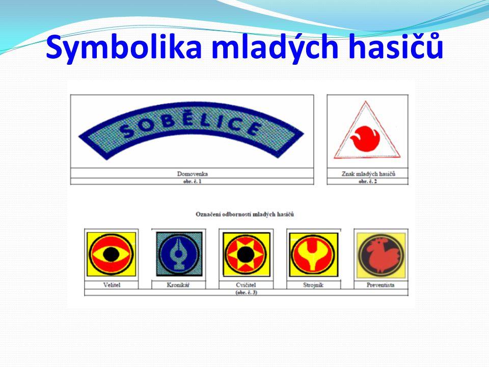Symbolika mladých hasičů a) domovenka b) označení kolektivu mladých hasičů c) znak mladých hasičů d) stužky výkonnostních tříd e) označení odbornosti