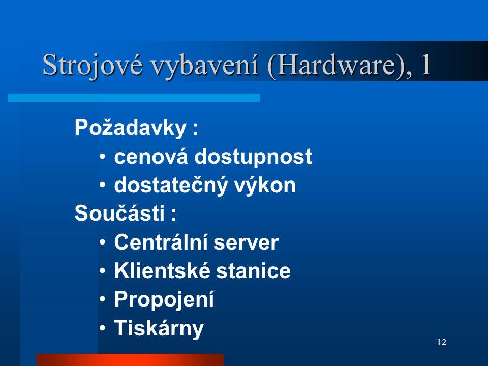 12 Strojové vybavení (Hardware), 1 Požadavky : cenová dostupnost dostatečný výkon Součásti : Centrální server Klientské stanice Propojení Tiskárny