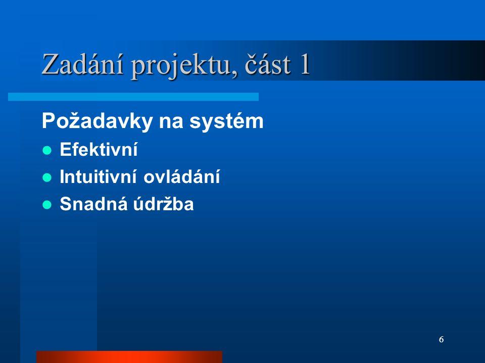 6 Zadání projektu, část 1 Požadavky na systém Efektivní Intuitivní ovládání Snadná údržba