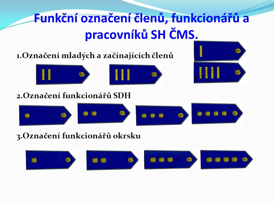 Funkční označení členů, funkcionářů a pracovníků SH ČMS. 1.Označení mladých a začínajících členů 2.Označení funkcionářů SDH 3.Označení funkcionářů okr
