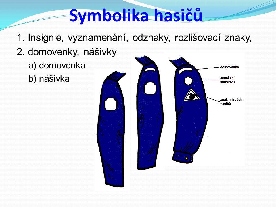 Symbolika hasičů 1. Insignie, vyznamenání, odznaky, rozlišovací znaky, 2. domovenky, nášivky a) domovenka b) nášivka