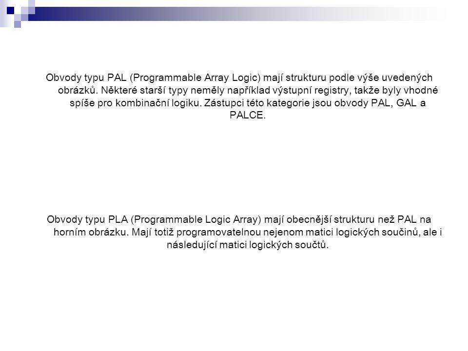 Obvody typu PAL (Programmable Array Logic) mají strukturu podle výše uvedených obrázků.
