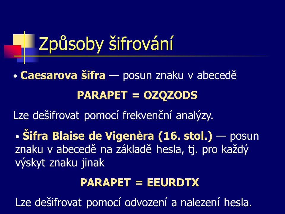 Způsoby šifrování Caesarova šifra — posun znaku v abecedě PARAPET = OZQZODS Lze dešifrovat pomocí frekvenční analýzy.