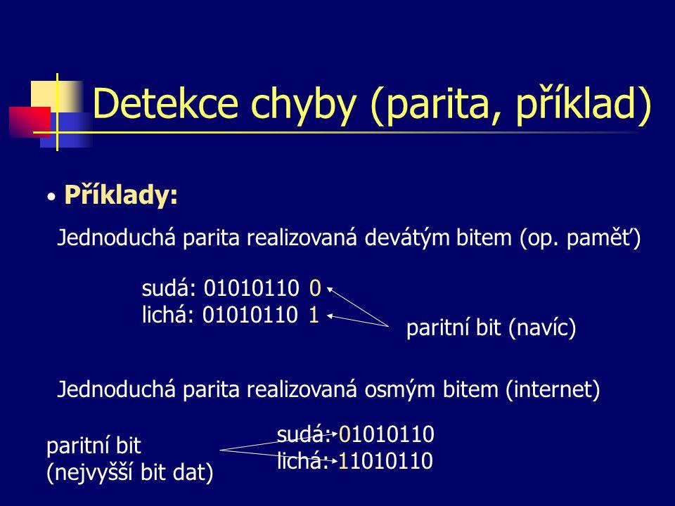 Detekce chyby (parita, příklad) Příklady: Jednoduchá parita realizovaná devátým bitem (op.