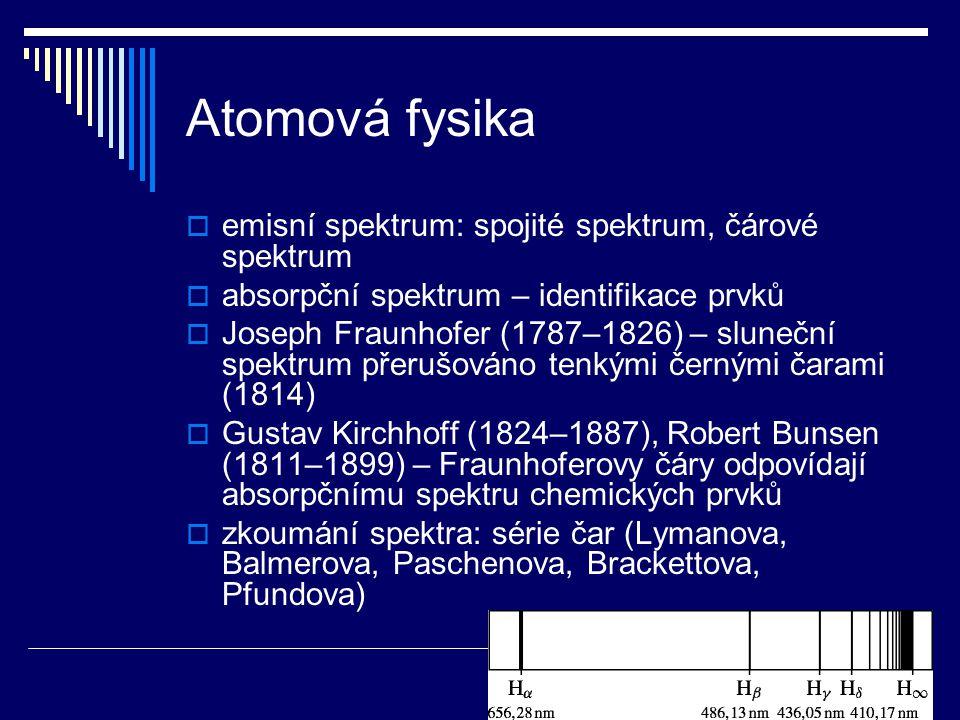 Atomová fysika  emisní spektrum: spojité spektrum, čárové spektrum  absorpční spektrum – identifikace prvků  Joseph Fraunhofer (1787–1826) – sluneč