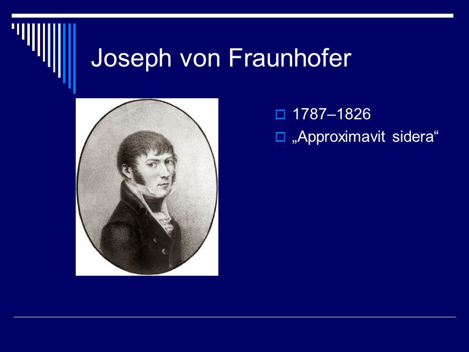 "Joseph von Fraunhofer  1787–1826  ""Approximavit sidera"""