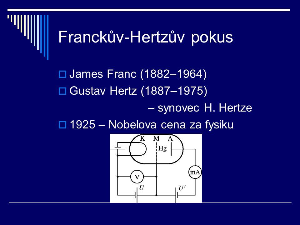 Franckův-Hertzův pokus  James Franc (1882–1964)  Gustav Hertz (1887–1975) – synovec H. Hertze  1925 – Nobelova cena za fysiku