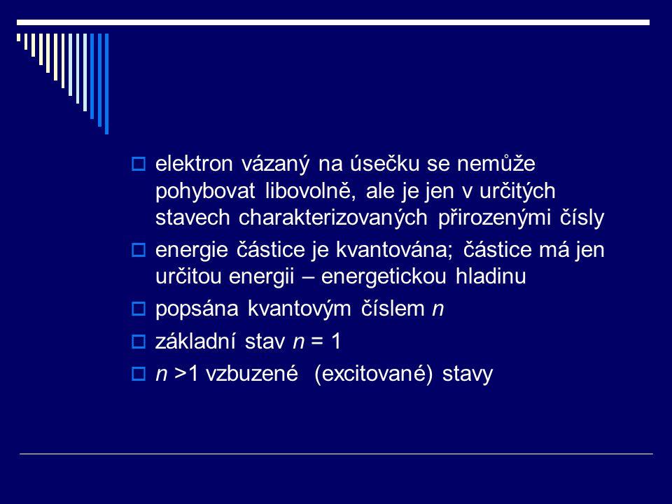  stacionární rozložení – v čase se nemění (podobně jako uzly a kmitny při stojatém vlnění)  částice neztrácí energii (kmity se netlumí)  částice ztrácí nebo získává energii pouze skokem  z vyššího do nižšího stavu se energie vyzáří  z nižšího do vyššího se energie pohltí