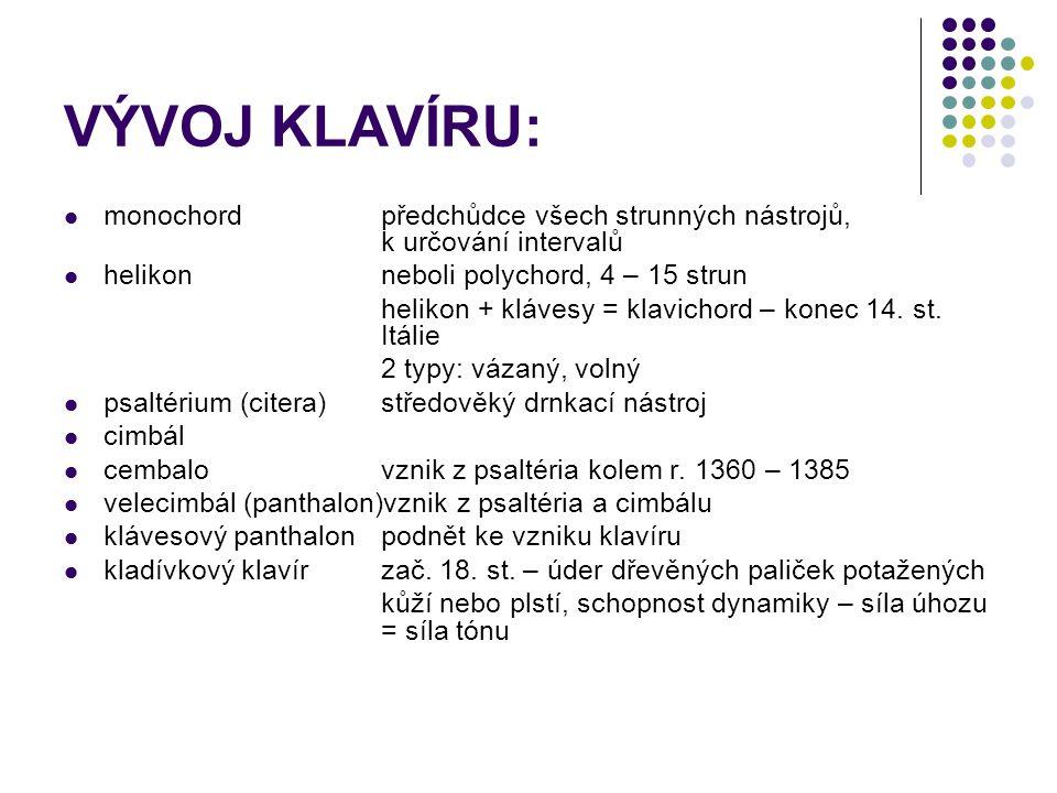 VÝVOJ KLAVÍRU: monochord předchůdce všech strunných nástrojů, k určování intervalů helikon neboli polychord, 4 – 15 strun helikon + klávesy = klavicho