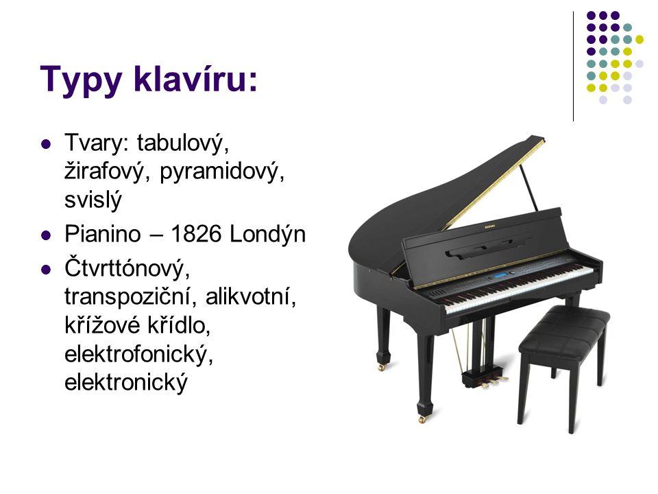 Typy klavíru: Tvary: tabulový, žirafový, pyramidový, svislý Pianino – 1826 Londýn Čtvrttónový, transpoziční, alikvotní, křížové křídlo, elektrofonický, elektronický