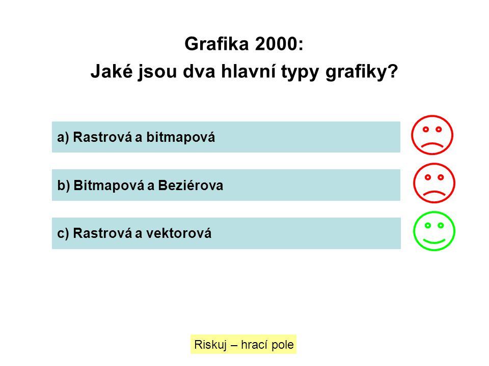 Grafika 2000: Jaké jsou dva hlavní typy grafiky? Riskuj – hrací pole a) Rastrová a bitmapová b) Bitmapová a Beziérova c) Rastrová a vektorová