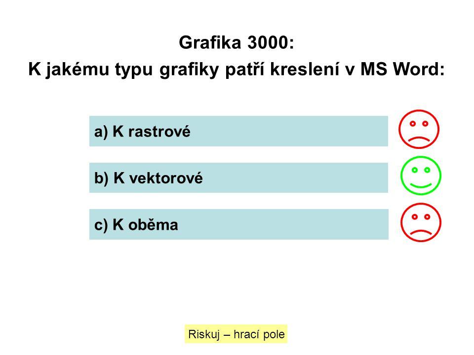 Grafika 3000: K jakému typu grafiky patří kreslení v MS Word: a) K rastrové b) K vektorové c) K oběma Riskuj – hrací pole