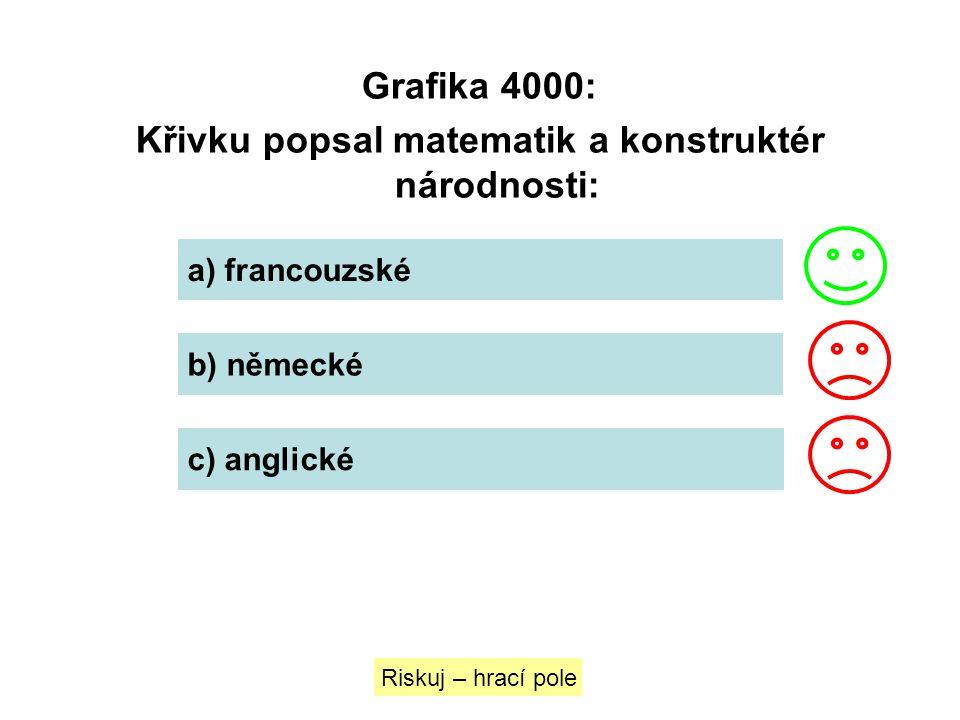 Grafika 4000: Křivku popsal matematik a konstruktér národnosti: a) francouzské b) německé c) anglické Riskuj – hrací pole