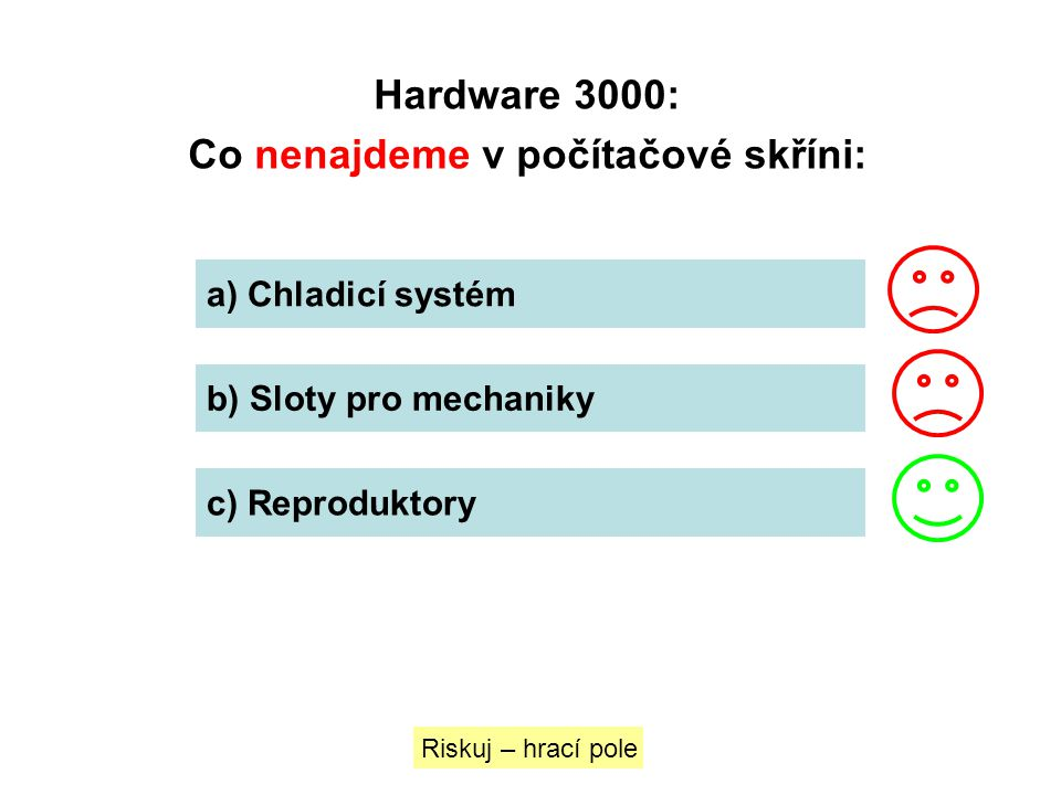 Hardware 3000: Co nenajdeme v počítačové skříni: a) Chladicí systém b) Sloty pro mechaniky c) Reproduktory Riskuj – hrací pole