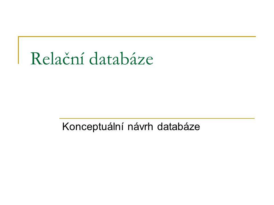Relační databáze Konceptuální návrh databáze