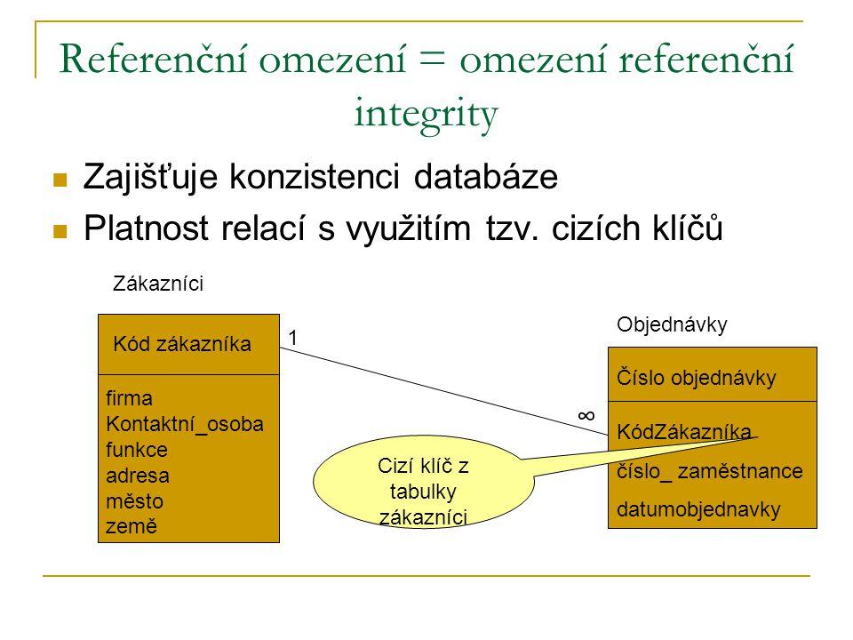 Referenční omezení = omezení referenční integrity Zajišťuje konzistenci databáze Platnost relací s využitím tzv. cizích klíčů Kód zákazníka firma Kont