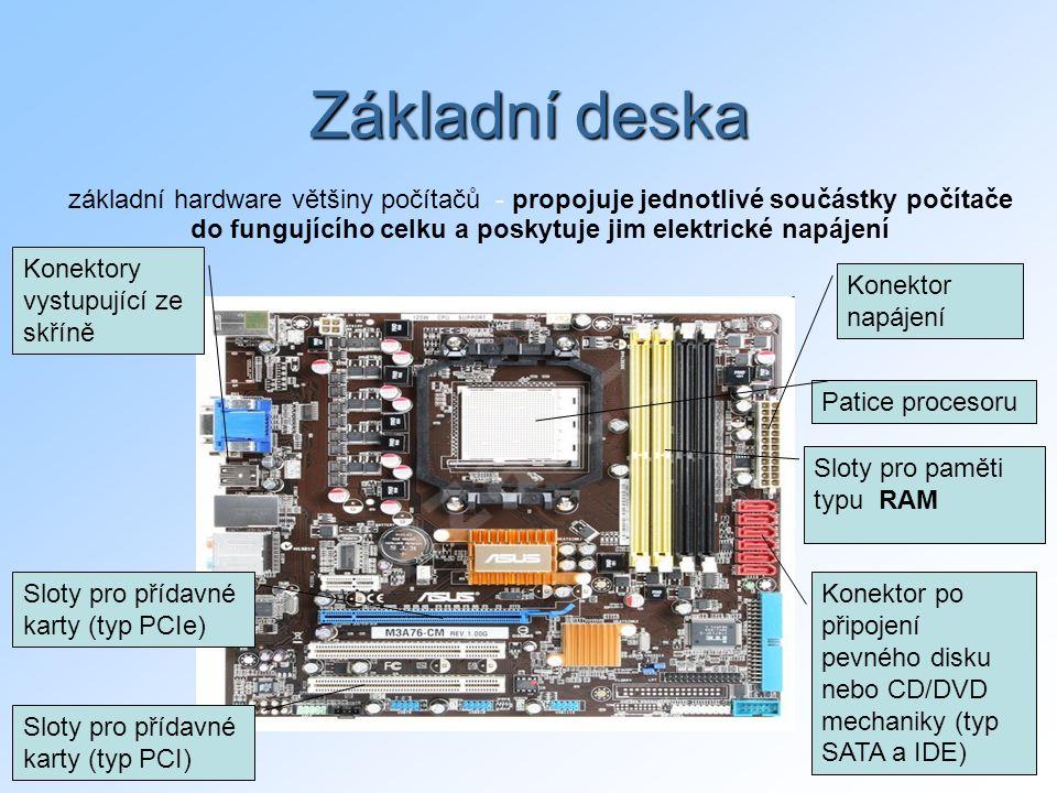 10 Základní deska Patice procesoru Sloty pro přídavné karty (typ PCI) Sloty pro paměti typu RAM základní hardware většiny počítačů - propojuje jednotlivé součástky počítače do fungujícího celku a poskytuje jim elektrické napájení Konektory vystupující ze skříně Sloty pro přídavné karty (typ PCIe) Konektor napájení Konektor po připojení pevného disku nebo CD/DVD mechaniky (typ SATA a IDE)
