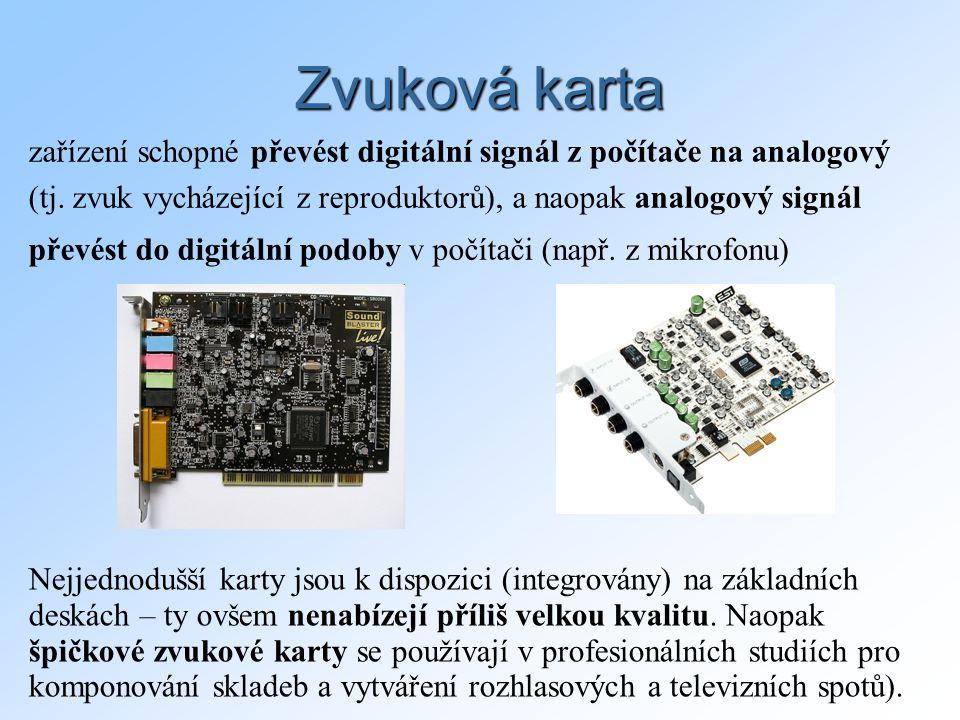 Zvuková karta zařízení schopné převést digitální signál z počítače na analogový (tj.